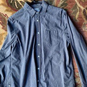 Old Navy Gray Polka Dot Button Down Shirt